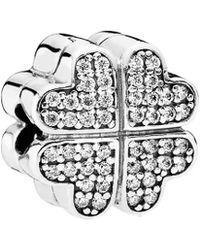 PANDORA - Silver Cz Petals Of Love Clip Charm - Lyst