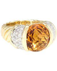 David Yurman David Yurman Cable Classics 18k 5.75 Ct. Tw. Diamond & Citrine Ring