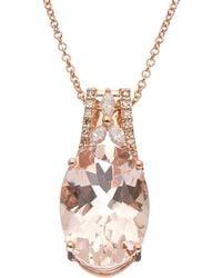 Effy - Fine Jewelry 14k Rose Gold 5.55 Ct. Tw. Diamond & Morganite Necklace - Lyst