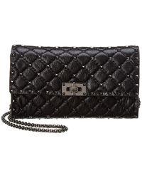 Valentino - Rockstud Spike Chain Leather Clutch - Lyst