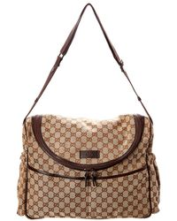 9b81bba1dee Gucci - Brown GG Canvas   Leather Diaper Bag - Lyst