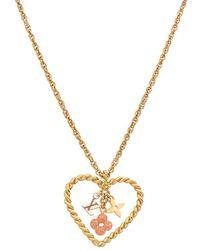 Louis Vuitton - Gold-tone & Pink Enamel Sweet In My Heart Necklace - Lyst