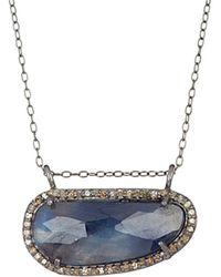 Adornia - Fine Jewellery Rhodium Plated Silver 6.60 Ct. Tw. Diamond & Blue Sapphire Necklace - Lyst
