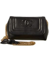 66090ee30368 Chanel Black Quilted Lambskin Leather Small Circle Lock Bag in Black ...