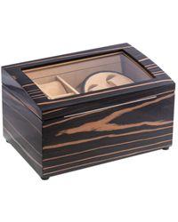 Bey-berk - Burl Wood 2-watch Winder With Storage For 4 Watches - Lyst