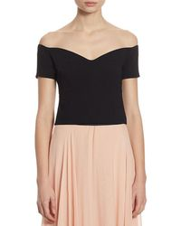 Cinq À Sept Birch Off-the-shoulder Cropped Top - Black