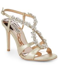 Badgley Mischka - Heil Embellished Leather Sandals - Lyst