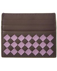 Bottega Veneta - Checkered Intrecciato Leather Card Case - Lyst