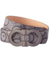 Ferragamo - Double Gancio Logo Embossed Leather Adjustable Belt - Lyst