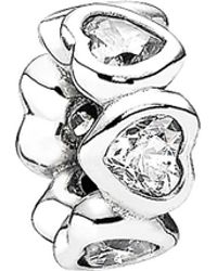 PANDORA - Space In My Heart Silver Cz Spacer Charm - Lyst