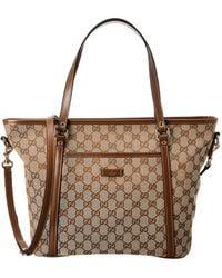 2e79420c7f1950 Gucci - Brown GG Canvas & Leather Tote - Lyst