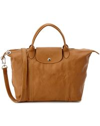 Longchamp - Le Pliage Cuir Medium Leather Top Handle Satchel - Lyst