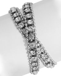 Loren Hope - Minimal Metals Silver Plated Crystal Wrap Bracelet - Lyst