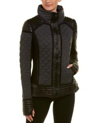 BLANC NOIR - Mesh Inset Leather-trim Puffer Jacket - Lyst