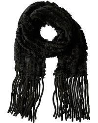 La Fiorentina - Black Fringe Scarf - Lyst
