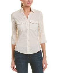 James Perse - 3/4-sleeve Panelled Shirt - Lyst