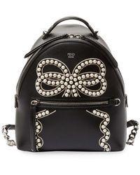 Fendi - Embellished Bow Detail Mini Leather Backpack - Lyst