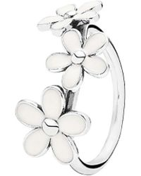 PANDORA - Silver Enamel Darling Daisies Ring - Lyst