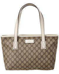 ac8723da669 Gucci - Brown GG Supreme Canvas   White Leather Tote - Lyst