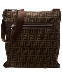 7a57a4093dd Lyst - Fendi Zucca Pattern Logos Handbag Pouch Canvas 5i22p120p in Pink