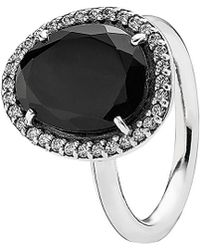 PANDORA - Glamorous Legacy Silver Black Spinel & Cz Ring - Lyst