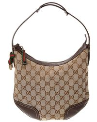 Gucci - Brown GG Canvas   Leather Shelly Line Hobo Bag - Lyst d1723db72e