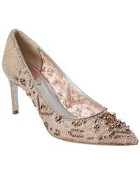Rene Caovilla - Pearl Embellished Lace Court Pump - Lyst