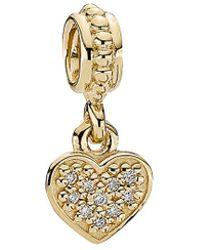 PANDORA - Pave Hanging Heart 14k Diamond Dangle Charm - Lyst