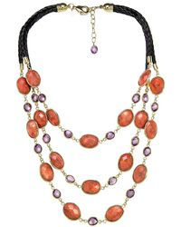 Gottex - 18k Plated Coral & Crystal Necklace - Lyst