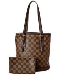 Louis Vuitton Damier Ebene Canvas Marais Bucket Bag - Brown