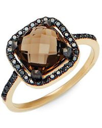 Suzanne Kalan - Black Diamond, Smokey Quartz And 14k Yellow Gold Ring - Lyst