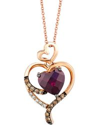 Le Vian - ® 14k Rose Gold 2.14 Ct. Tw. Chocolate & White Diamond & Rhodolite Necklace - Lyst