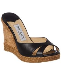 Jimmy Choo - Almer 105 Leather Wedge Sandal - Lyst