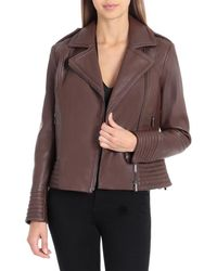 Badgley Mischka - Gia Leather Biker Jacket - Lyst