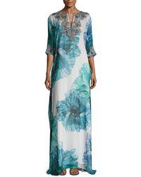 Badgley Mischka - Couture Floral Printed Embellished Caftan - Lyst