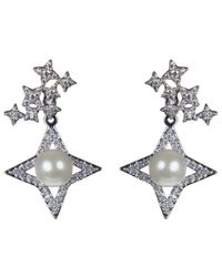CZ by Kenneth Jay Lane - Rhodium Plated 6.3mm Shell Pearl Drop Earrings - Lyst
