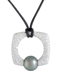 Mikimoto - 18k 1.64 Ct. Tw. Diamond & 10-11mm Pearl Necklace - Lyst