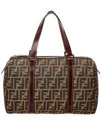 b1117ecebb61 Fendi - Brown Zucca Canvas   Leather Boston Bag - Lyst