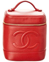 Chanel - Red Caviar Leather Vertical Cosmetic Case - Lyst