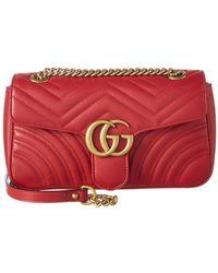 3146a6e13 Gucci Gg Marmont 2.0 Imitation Pearl Logo Matelasse Leather Shoulder ...