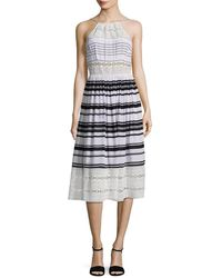 Tracy Reese - Printed Lace Inset Midi Dress - Lyst