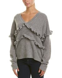 White + Warren - Ruffle Trim Cashmere Sweater - Lyst