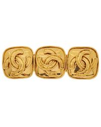 Chanel - Gold-tone 3cc Square Brooch - Lyst