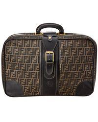Fendi - Brown Zucca Canvas & Black Leather Medium Suitcase - Lyst
