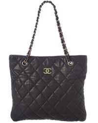 Chanel Black Quilted Lambskin Leather Cc Tote