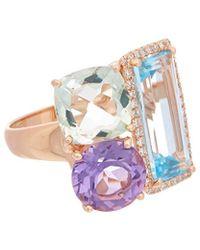 Effy - Fine Jewellery 14k Rose Gold 9.93 Ct. Tw. Diamond & Gemstone Ring - Lyst