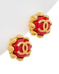 Chanel - Gold-tone & Red Enamel Clover Clip-on Earrings - Lyst