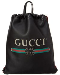 Lyst - Gucci Black Gg and Leather Backpack in Black for Men 3281830b4d48f