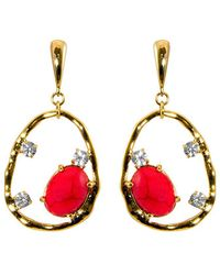Gottex - 18k Plated Coral & Crystal Irregular Circle Drop Earrings - Lyst
