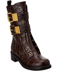 dd033092dcc Giuseppe Zanotti - Croc-embossed Leather Biker Boot - Lyst